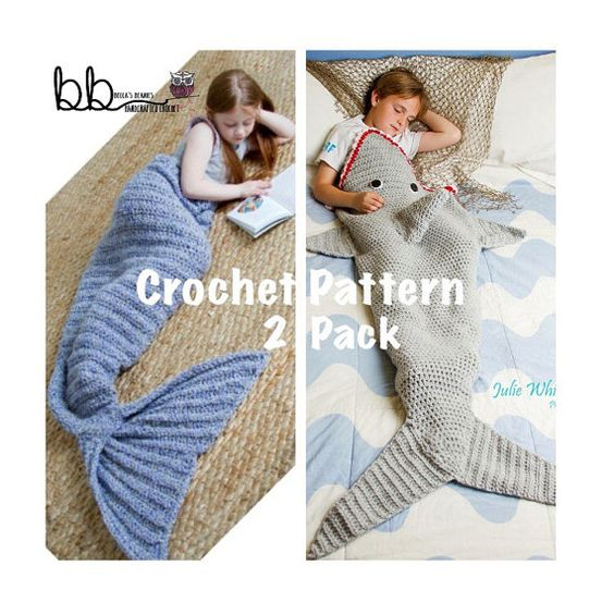 Mermaid and Shark Tail Blanket - 2 PACK PATTERN ONLY - Crochet ...