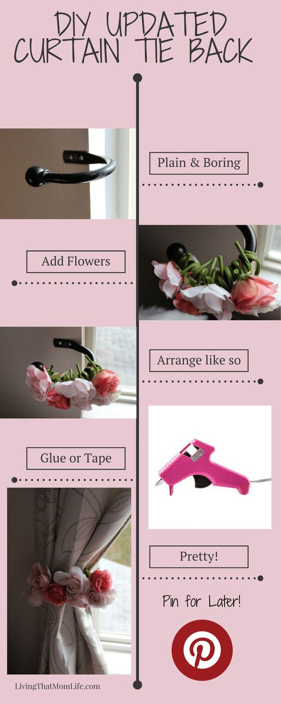 Curtain tie back, nursery, baby girl, DIY