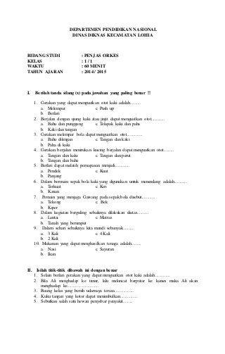 Download Soal Kunci Jawaban Soal Ulangan Umum Penjaskes Kelas 7