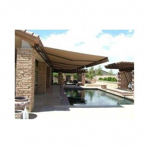 Aleko Motorized Retractable Patio Awning 20 X 10 Ft Sand Brown Color Pergolamodern Outdoor Awnings Pergola Shade Patio Awning