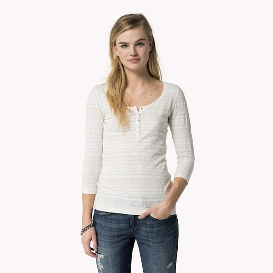 Hilfiger Denim Baumwolle Gemustert Henley - egret-pt (Weiß) - Hilfiger Denim T-Shirts - Hauptbild