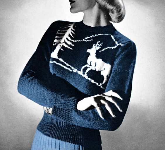 Knitting Patterns For Nordic Sweater : 1950s Reindeer Ski Sweater Nordic Scandinavian Jumper ...