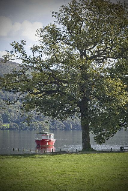 Boat on Coniston Water, Cumbria, England