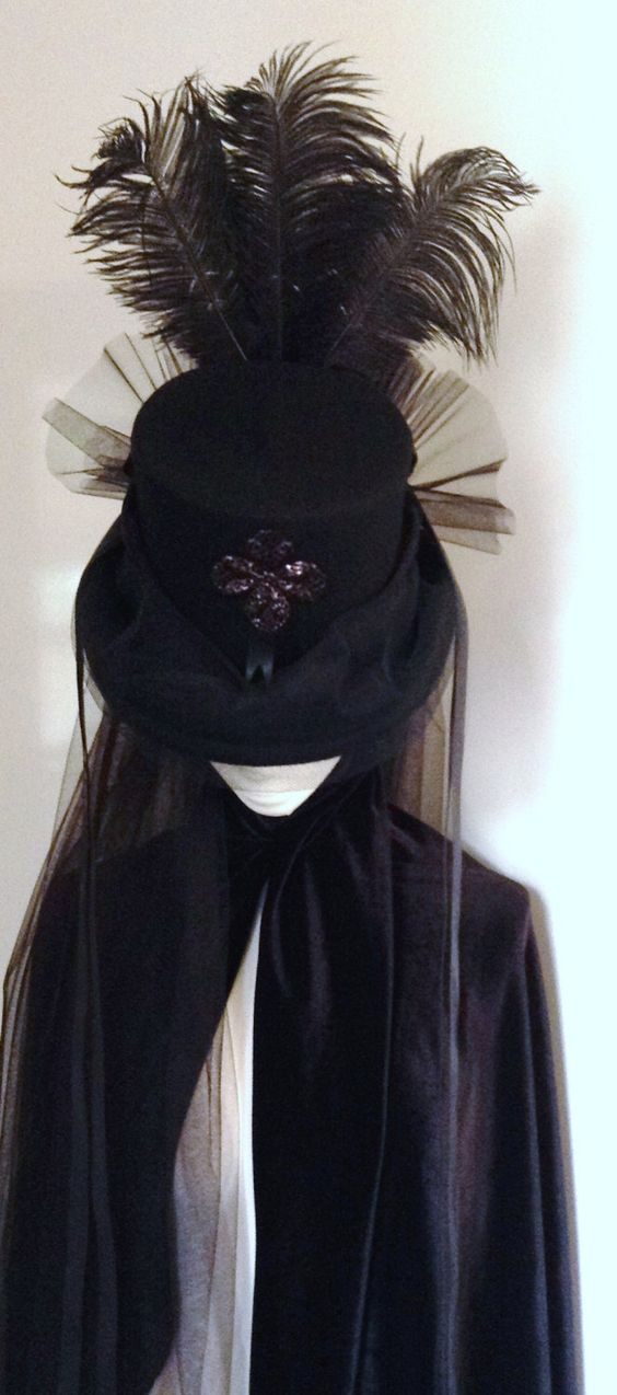 Victorian Mourning Top Hat Undertaker Madame Kane