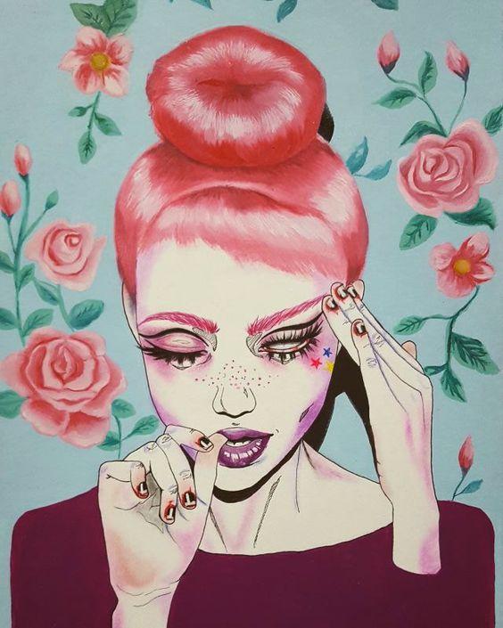 Pintura de uma garota de cabelo vermelho com a mão na cabeça e olhos fechados.