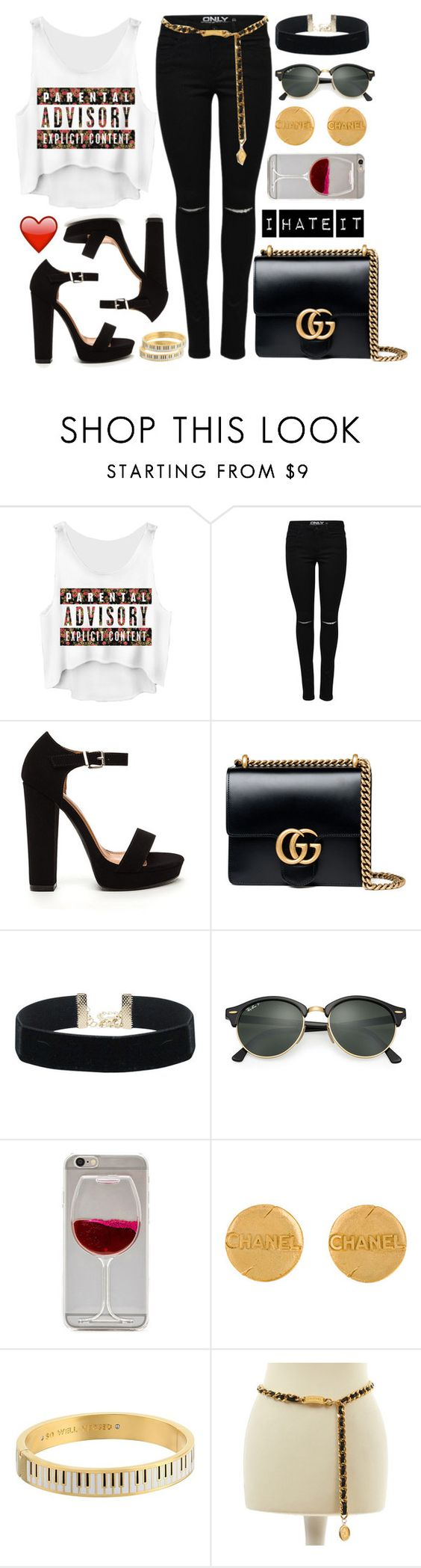 """""""Insecurity."""" by luablackoficial ❤ liked on Polyvore featuring Gucci, Ray-Ban, Chanel, Kate Spade, black, polyvoreeditorial, howtowearcroptop and luablackoficial"""