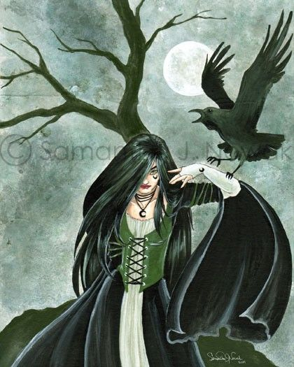 With her black raven and penetrating gaze - wouldn't you want her on your wall or alter guarding you with her strength and determination?  Click her image to take you to an 8x10 print available on Etsy!