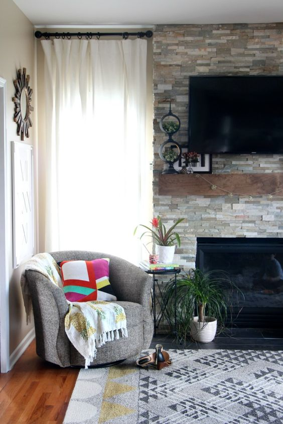 Summer Home Tour   summer styled family room and mantel   bold pops of color for summer   Eclectic Summer Home Tour   This is our Bliss   www.thisisourbliss.com