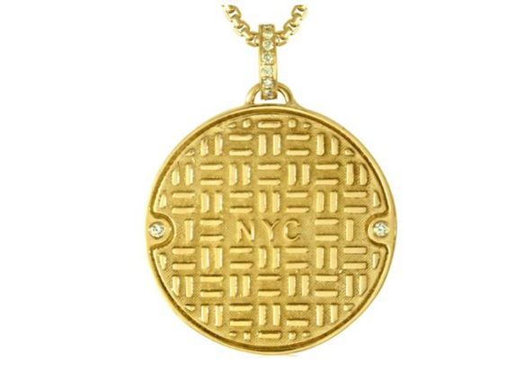 Julie Lamb's NYC Manhole Cover in yellow gold with diamond accents. Handmade in NYC.