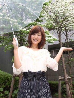 曽田麻衣子傘をさして笑顔のお天気中継