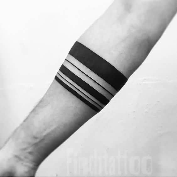 Unique And Simple Around Forearm Band Tattoos For Men