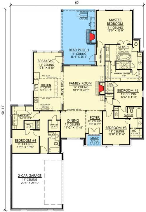 Plan 56406sm Open Concept 4 Bed Acadian House Plan