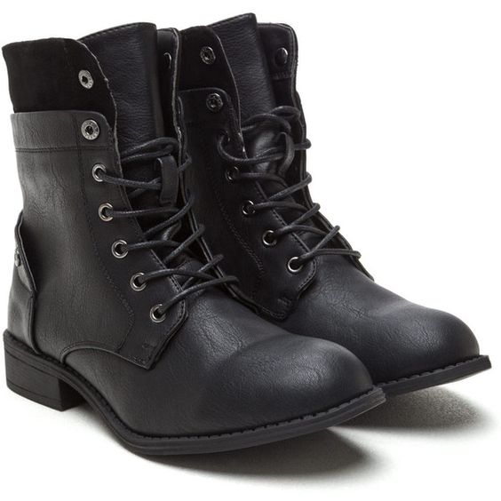 Bad Babe Faux Leather Combat Boots ❤ liked on Polyvore featuring shoes, boots, vegan combat boots, military boots, synthetic leather shoes, army boots and vegan footwear