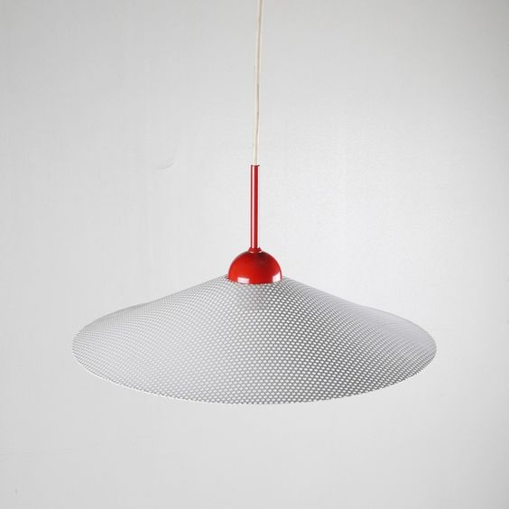 Aluminium Pendant With Perforated White Shade 1970s Pendant Perforated Ceiling Lamp