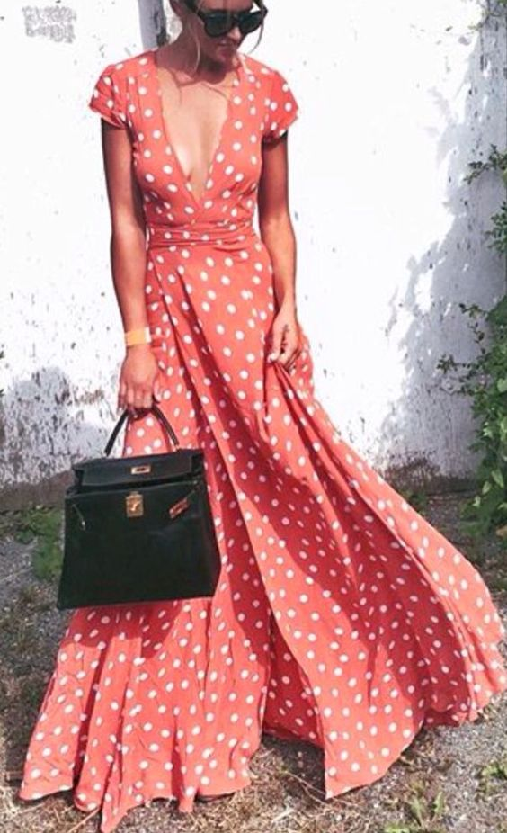 What a beautiful wrap maxi dress: