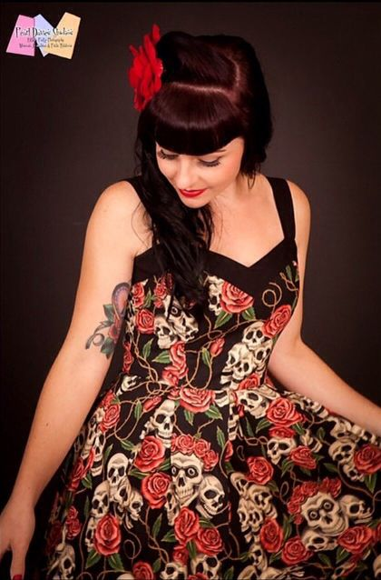 Pin Up, Rockabilly, PinUp, skull, rose, roses, Skulls, dress - Lesleys Little Shop -