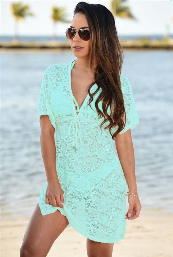 Cool 2016 summer beach swimwear lace cover up pareo bikini ...