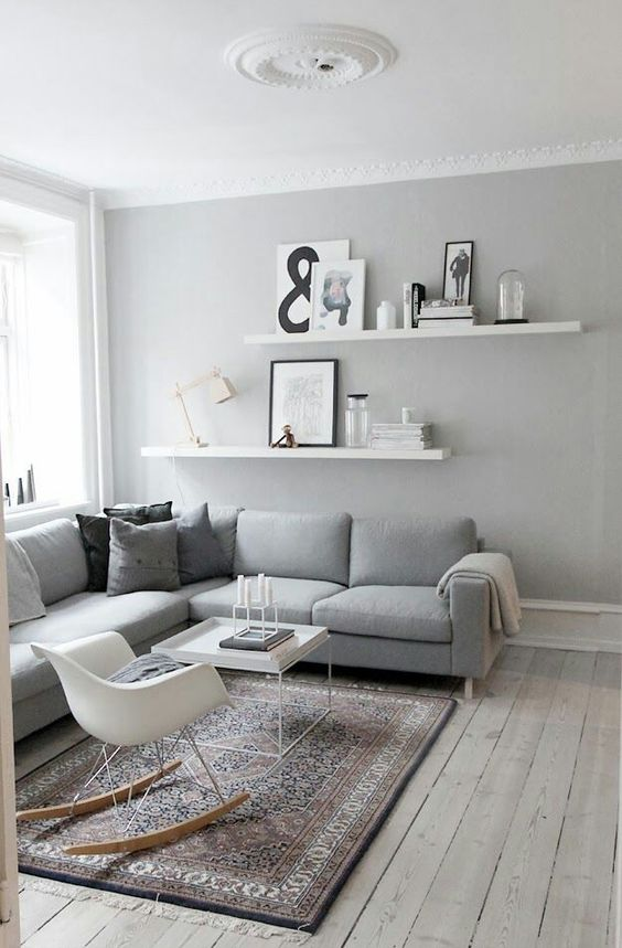 Neutral small living room with floating shelves - photo ledges. Are you looking for unique and beautiful art photo prints to create your gallery wall? Follow us on Instagram: @bx3foto and visit bx3foto.etsy.com