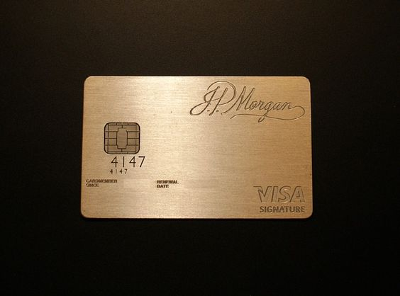 JP Morgan Chase Palladium card. Made of laser-etched palladium and gold, this card is reserved for those who have a relationship with JP Morgan private bank, wealth management or investment bank.