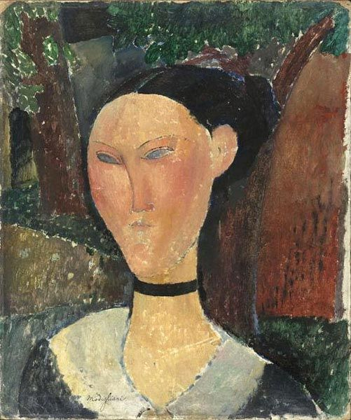 """Modigliani's """"Donna con nastro di velluto""""  1915  Oil on canvas- Musée de l'Orangerie"""