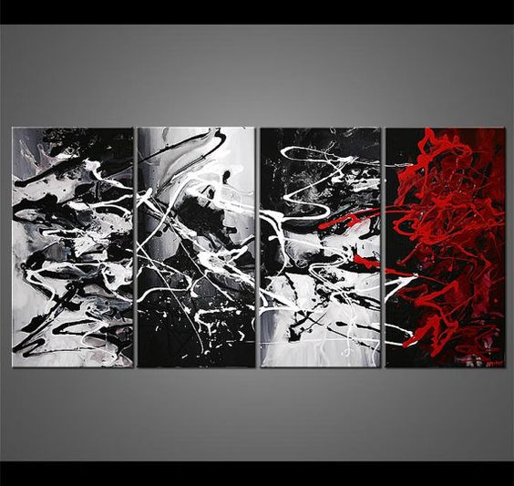 Black And White Paintings For Bedroom Bedroom Sets Black Modern Bedroom Black Bedroom Furniture Sets Pictures: Abstract Painting Modern Black White Red Gray Acrylic