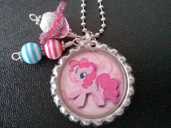 My Little Pony-----Pinkie Pie2------BOTTLE CAP NECKLACE--Goody Bag--Party Favor--Birthday. $8.99, via Etsy.