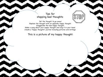 Counseling Sheets - Stop Bad Thoughts Worksheets (Cognitive ...