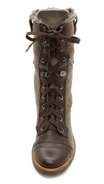 Diane von Furstenberg Alexia Combat Boots with Shearling