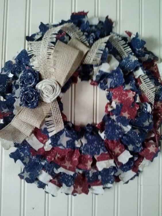 "Patriotic Country Fabric Wreath 14"""