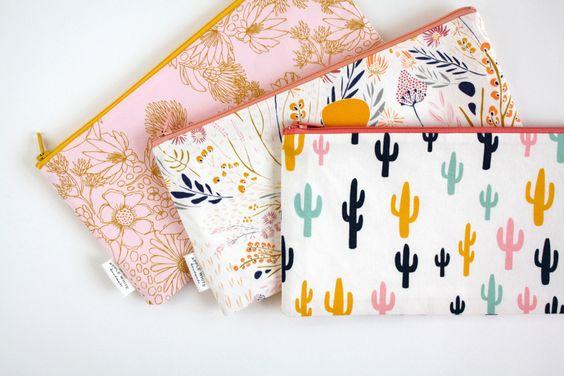 Zipper Pouch, Pencil Pouch, Pencil Case, Desert, Cactus, Floral,, College, Kids, School Supplies, Teens, Women, Organize by AppleWhite on Etsy https://www.etsy.com/listing/237107404/zipper-pouch-pencil-pouch-pencil-case