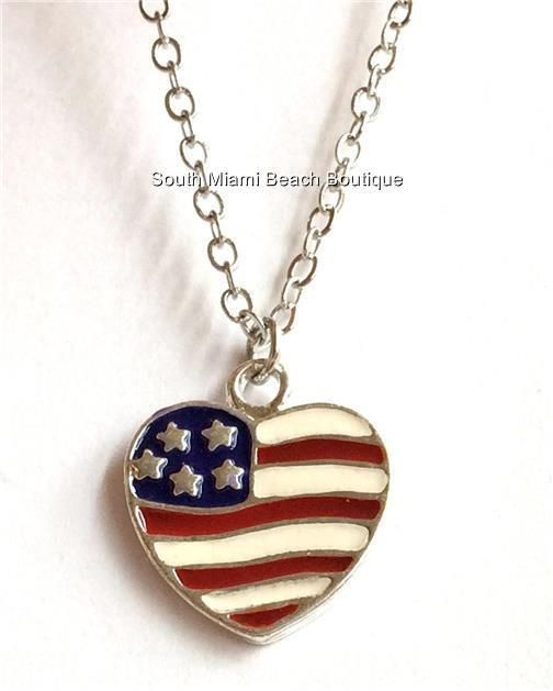 4th of July Independence Day American USA US Flag Heart Star Pendant Necklace