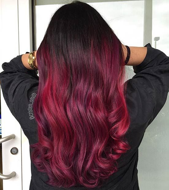 Black To Dark Raspberry Red Ombre Hair For Brunettes Hair Color Red Ombre Red Ombre Hair Ombre Hair Color