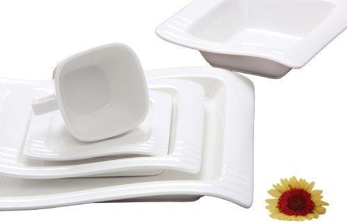Melange Wave Premium Porcelain 40-Piece Place Setting, Ivory, Serving for 8