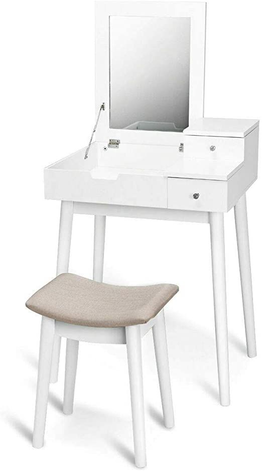 White Vanity Set Makeup Dressing Table, White Bedroom Furniture Sets With Desk