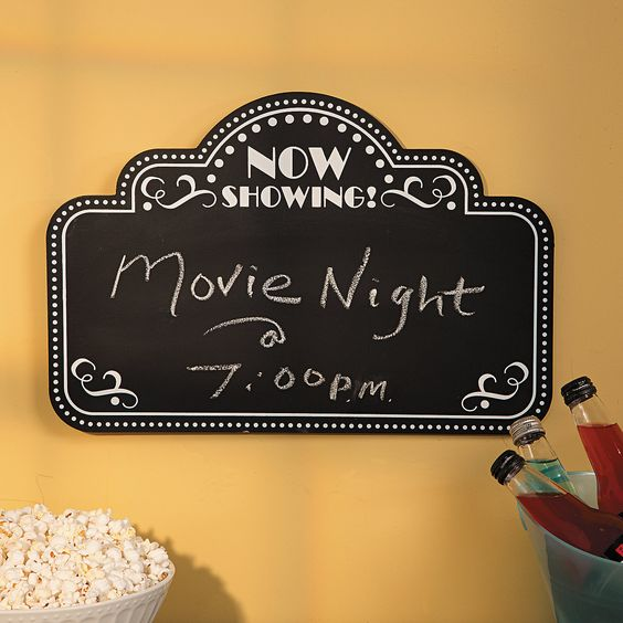 Movie Night Chalkboard - OrientalTrading.com Now Showing...Our Wedding  <------- This way