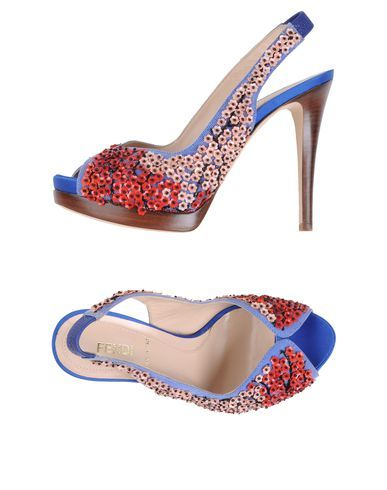 Red, White & Blue Fendi Peeptoe Slingback Pumps