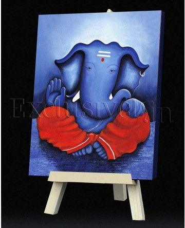 Limited Edition Ganesha Painting in Blue and Red | 3D ...