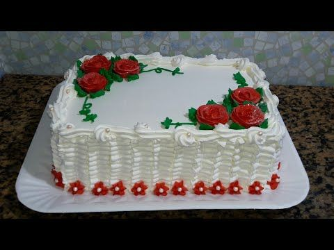 Bolo Decorado Com Chantilly Quadrado Rosas Vermelha Youtube