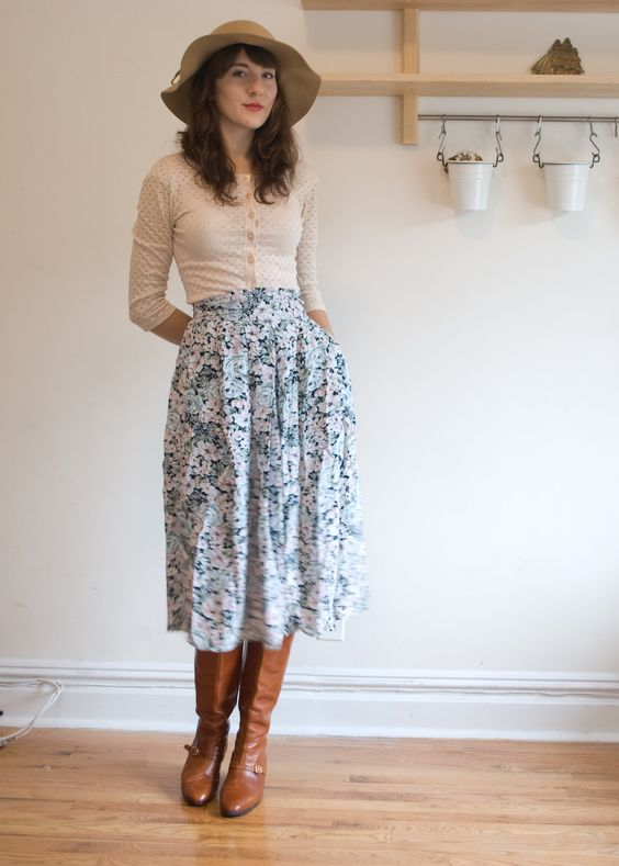 Vintage high waisted floral midi skirt. $30.00, via Etsy. Perfect as a sister missionary skirt. Love the cardigan worn as a shirt: