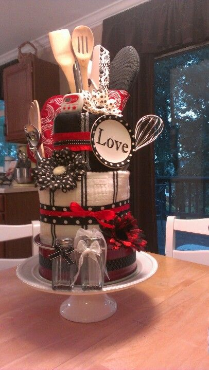 """Kitchen Towel """"Cake"""" wedding shower gift."""