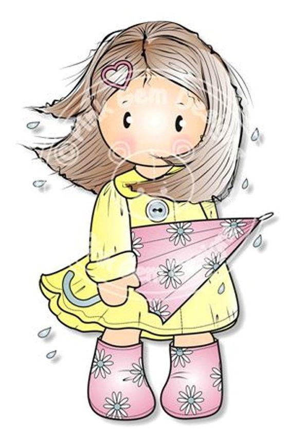 Sello digital Digi Chloe azotada por el viento - cumpleaños de las niñas, madres día