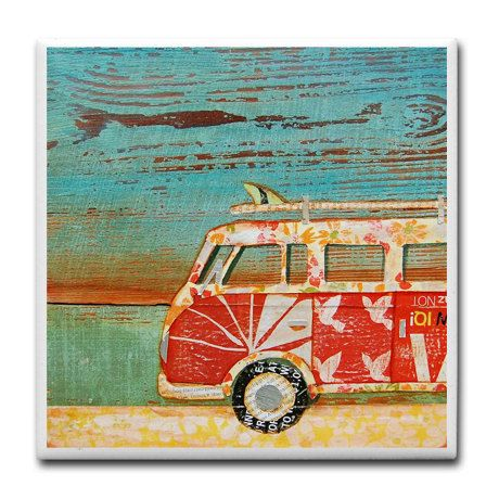 Santa Cruise, Vw volkswagen van bus ART PRINT surfboard beach art home decor coastal summer housewarming hostess gift ceramic