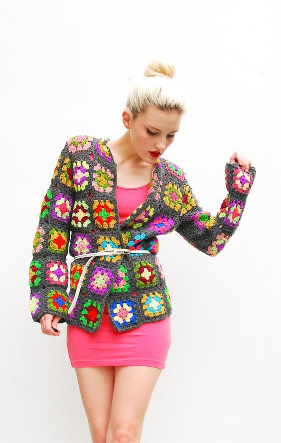 70s Afghan Sweater Cardigan - Patchwork Sweater
