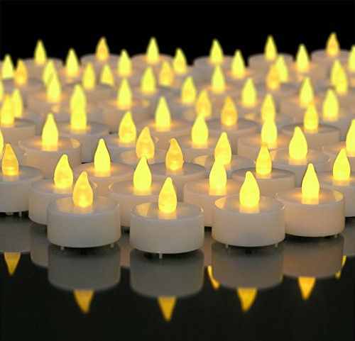 Flameless Tealight Candles - 100 Pack of White LED Tea Lights - Flameless Candles - Wedding Decorations - Party Decorations