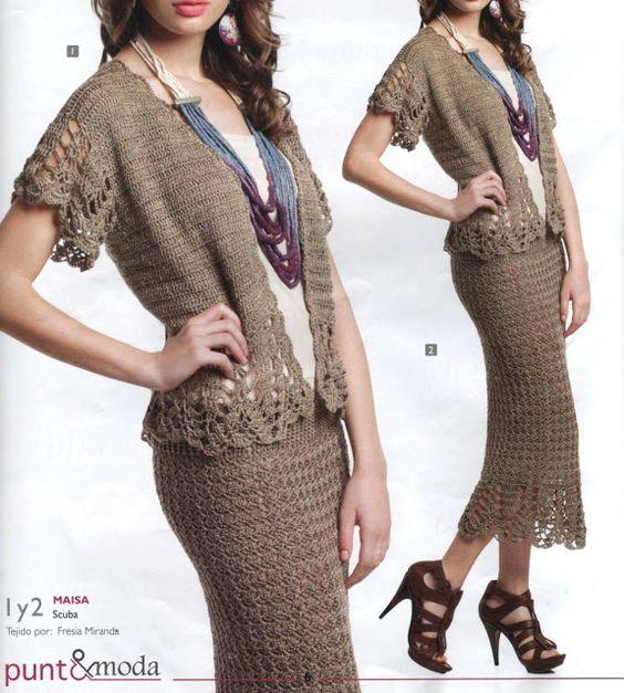 Patrón #930: Chaqueta y Falda a Crochet | CTejidas [Crochet y Dos Agujas]