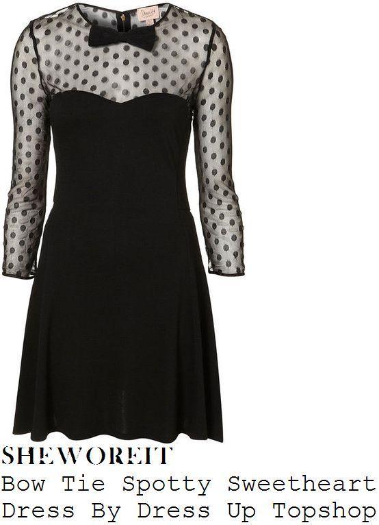 Dress Up Topshop Lace Mesh Polka Dot Bow Spotty Sweetheart Skater Black dress 10