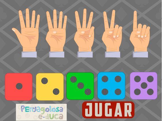 Une cada mano con el dado que tenga TANTOS puntos COMO dedos (1-5)