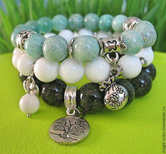 """Купить """"Дерево жизни"""" - агат, браслет из камней, амазонит натуральный, подарок подруге, агат натуральный"""