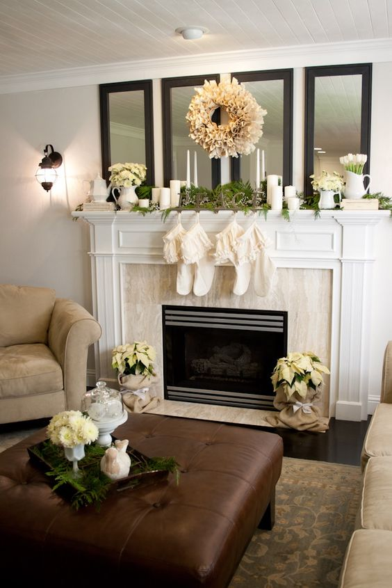 Cover up the base of the poinsettia with burlap and a - How to decorate a mantel with a mirror above it ...