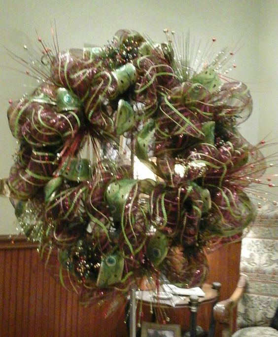 Christmas Mesh Wreath My Christmas Decorations Pinterest